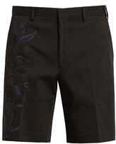 Fendi Floral-embroidered Cotton-blend Shorts