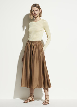 Vince Gathered Silk Habotai Pull On Skirt