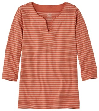 L.L. Bean Women's Pima Cotton Tunic, Three-Quarter-Sleeve Splitneck Stripe