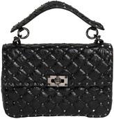 Valentino Medium Spike Crackled Leather Bag