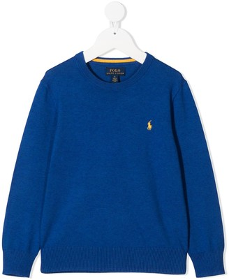 Ralph Lauren Kids Crew Neck Embroidered Logo Jumper
