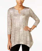 JM Collection Metallic Handkerchief-Hem Top, Only at Macy's