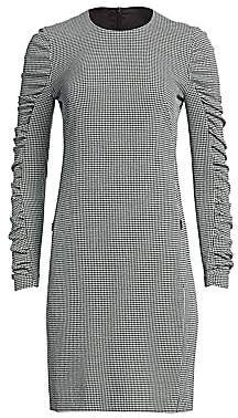 Akris Punto Women's Houndstooth-Print Ruched-Sleeve Sheath Dress