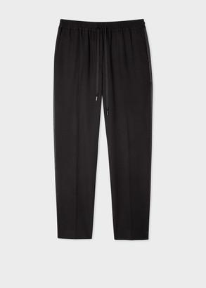 Paul Smith Women's Black Wool Drawstring Tuxedo Pants With Satin Stripe