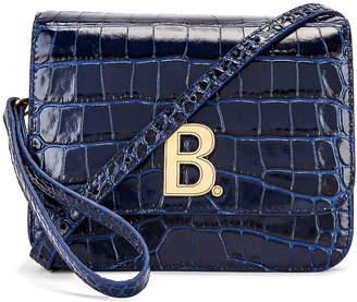 Balenciaga Small Embossed Croc B Bag in Navy | FWRD
