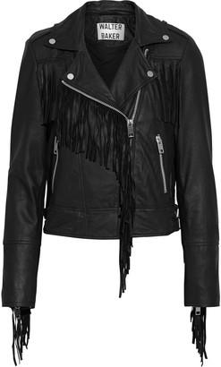 Walter Baker Alexis Fringed Washed-leather Biker Jacket