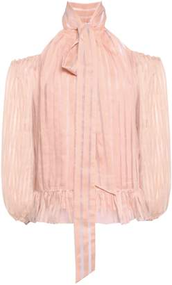 Anna October Cold-shoulder Pussy-bow Cotton-blend Jacquard Blouse