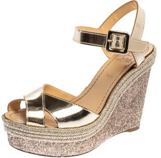 Christian Louboutin Metallic Gold Leather and Glitter Almeria Espadrille Wedge Sandals Size 38