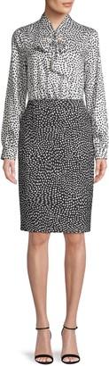 Donna Karan Printed Long-Sleeve Dress