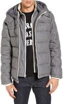 Black Rivet Men's Quilted Wool Blend Jacket