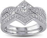 JCPenney MODERN BRIDE 5/8 CT. T.W. Diamond 14K White Gold V-Shaped Bridal Ring Set
