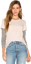 Monrow Double Layer Long Sleeve Tee in Pink
