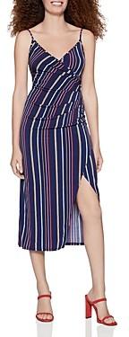 BCBGeneration Striped Crossover Midi Dress