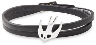 McQ Silver-tone And Leather Wrap Bracelet