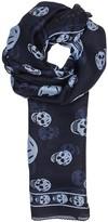 Alexander Mcqueen Navy Skull-print Silk Chiffon Scarf