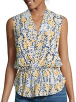 Liz Claiborne Sleeveless Wrap-Front Peplum Blouse - Tall