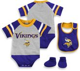 NFL Minnesota Vikings Size 24M 3-Piece Creeper Bib and Bootie Set