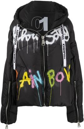 KHRISJOY Graffiti-Print Puffer Jacket