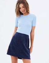 Corduroy Zip Side Mini Skirt