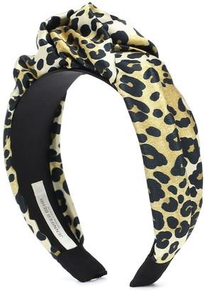 Jennifer Behr Fiona leopard-print silk headband
