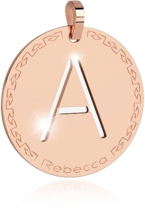 Rebecca Rose Gold-plated Bronze A Charm W/Rhodium-plated Necklace