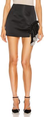 Area Crystal Trim Ruffle Mini Skirt in Black | FWRD