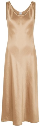 MAX MARA LEISURE Talette Light Brown Satin Midi Dress