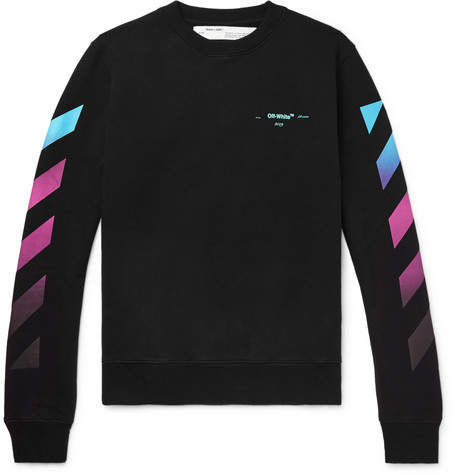 Off-White Off White Logo-Print Fleece-Back Cotton-Jersey Sweatshirt - Men - Black
