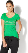 New York & Co. Charmed Studded Graphic Logo Tee