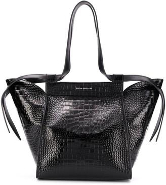 Elena Ghisellini Crocodile Embossed Shoulder Bag