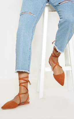PrettyLittleThing Tan Point Toe Ankle Tie Flat