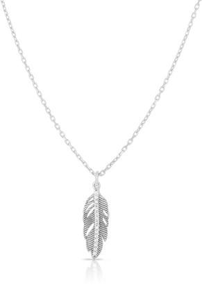 Sphera Milano Rhodium Plated Sterling Silver Feather Pendant Necklace