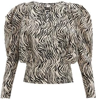 Isabel Marant Zarga Zebra-print Silk-blend Blouse - White Print