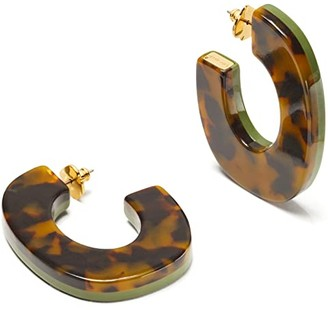 Kate Spade Urban Jungle Resin Hoops Earrings (Green) Earring