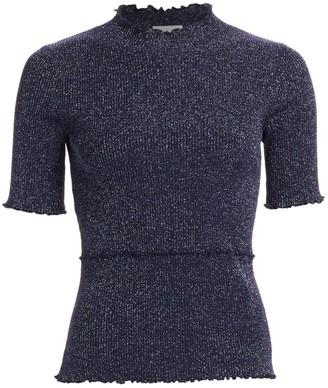 3.1 Phillip Lim Lurex Short-Sleeve Sweater