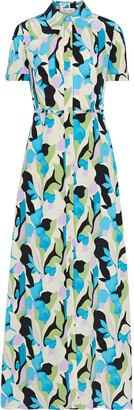 Diane von Furstenberg Georgia Printed Silk Crepe De Chine Maxi Shirt Dress