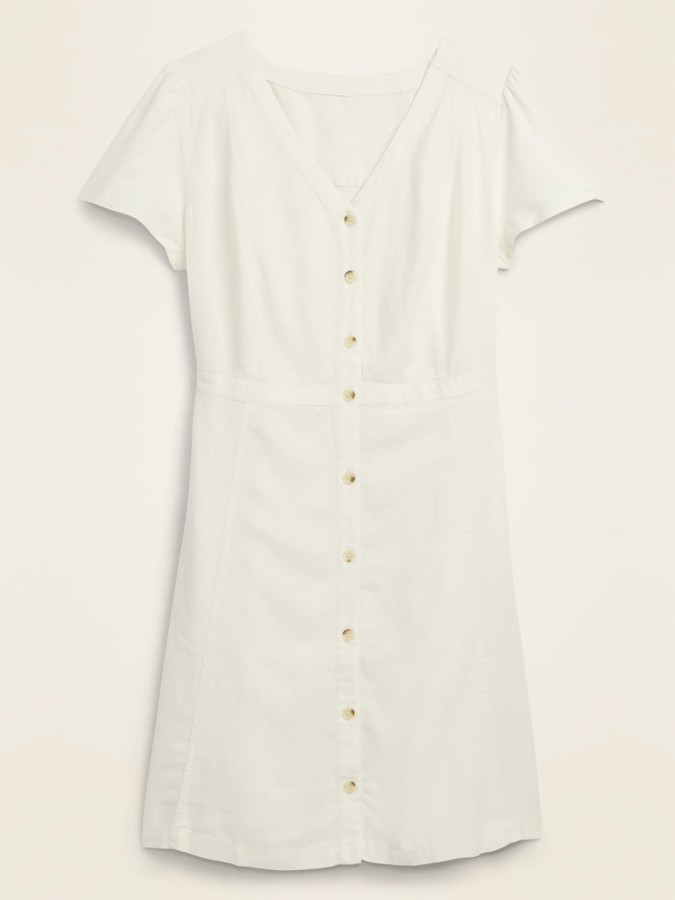 Old Navy Linen-Blend Button-Front No-Peek Fit & Flare Plus-Size Dress