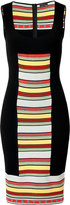 Fendi Black/Multicolored Striped Panel Knit Dress