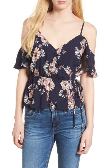Cupcakes And Cashmere Adia Floral Off the Shoulder Wrap Top