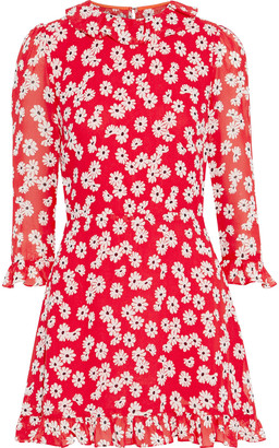 Reformation Stevie Ruffle-trimmed Floral-print Crepe Mini Dress