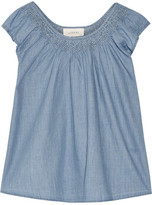 The Great Embroidered Cotton-Chambray Top