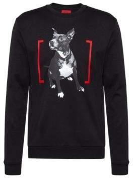 HUGO Crew-neck sweatshirt in interlock cotton with photographic print