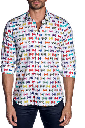 Jared Lang Men's Semi-Fitted Bow-Tie Print Sport Shirt, White