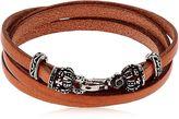 Alcozer & J Crowns Leather Wrap Bracelet