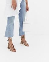 Public Desire Freya leopard knot detail tie up heeled sandals
