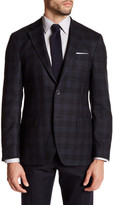 Ike Behar Black Plaid Two Button Notch Lapel Wool Sport Coat