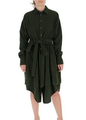 DSQUARED2 Wrap Waist Panelled Shirt Dress