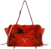 Prada Shearling And Textured-leather Shoulder Bag