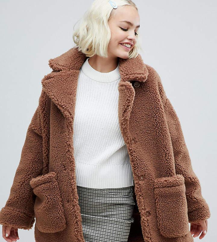 Monki oversized teddy jacket in brown