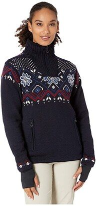 Dale of Norway Fongen Weatherproof Feminine Sweater (Navy/Off-White/Red Rose/Indigo) Women's Clothing